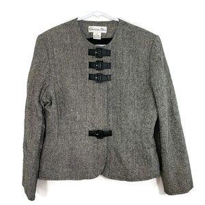 VTG Christian Dior Black White Chevron Blazer 14